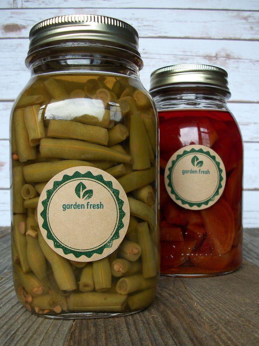 Kraft Garden Fresh Canning Labels   Canning jar labels and Gardens