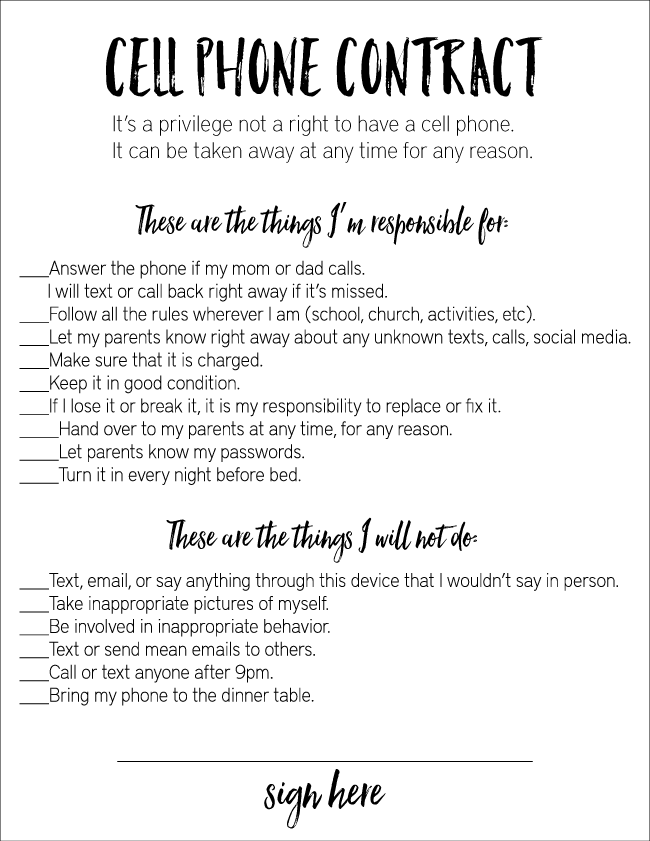 With Printable Pdf Cell Phone Contract For Tweens  Psychology