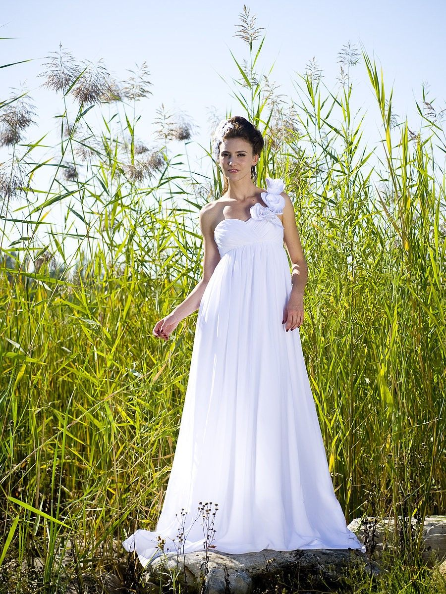 $196.98 Empire One Shoulder Sweep Train Chiffon dress with Hand Made Flowers -Wedding Dresses-DeniseDress