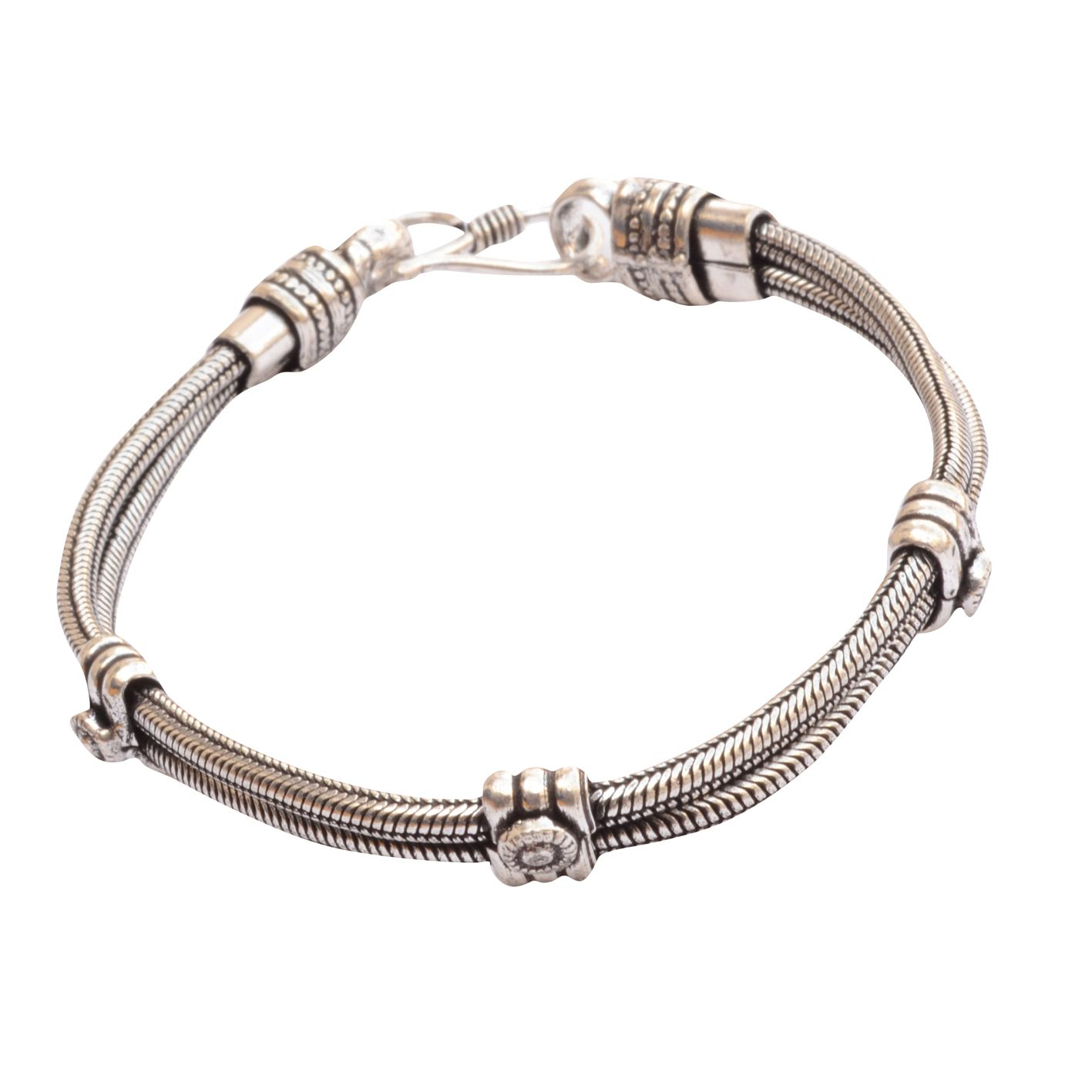 Classy german silver bracelet wrist band for men menus jewellery