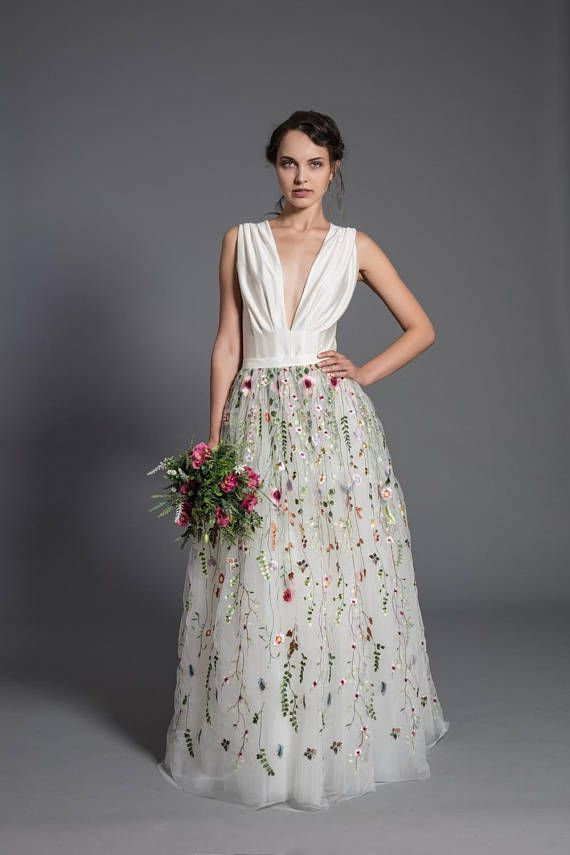 21f1bf49bb5f Floral wedding dress, off white maxi tutu tulle skirt, lace maxi ...