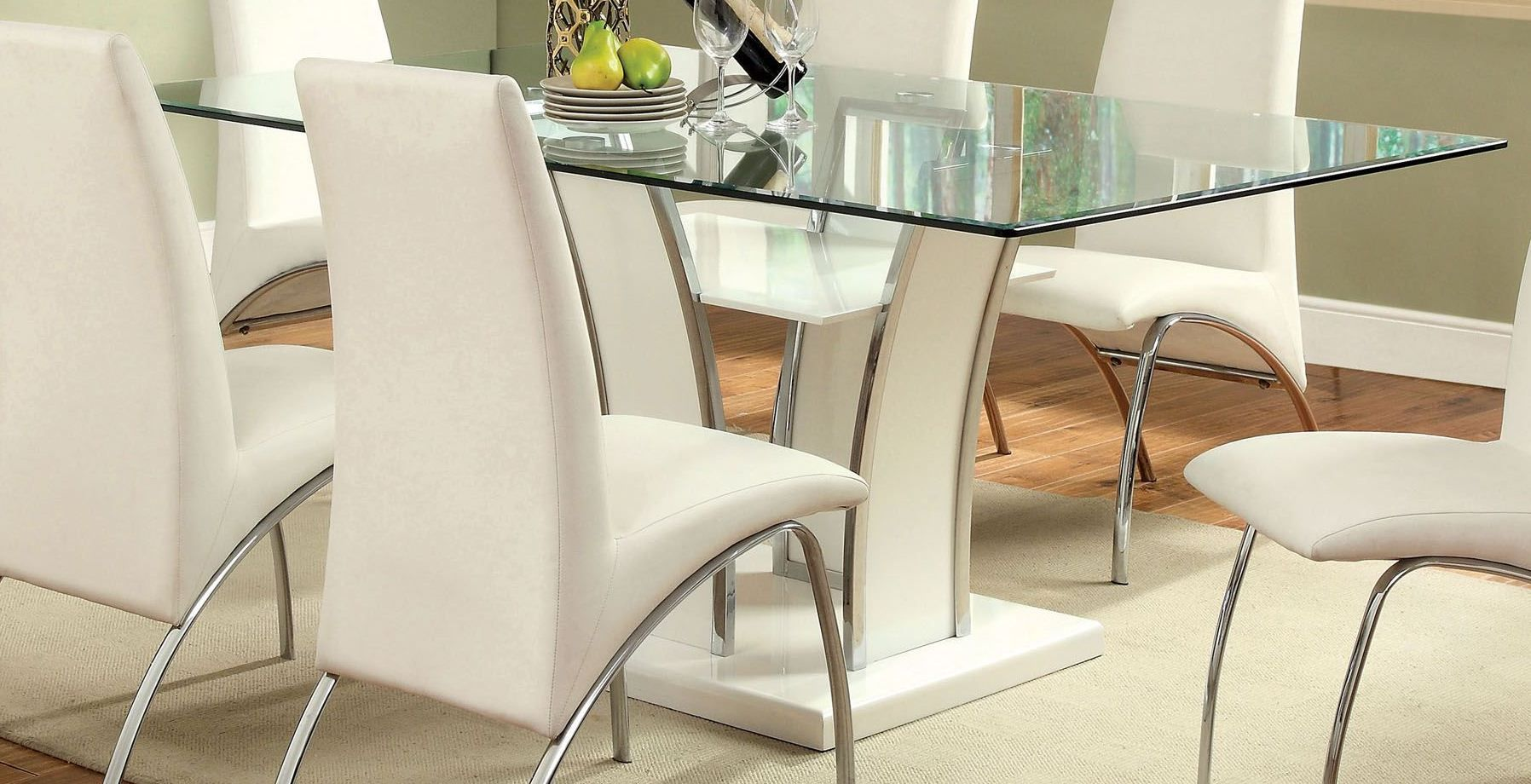 Glenview White Glass Top Dining Table Restaurant Tables And