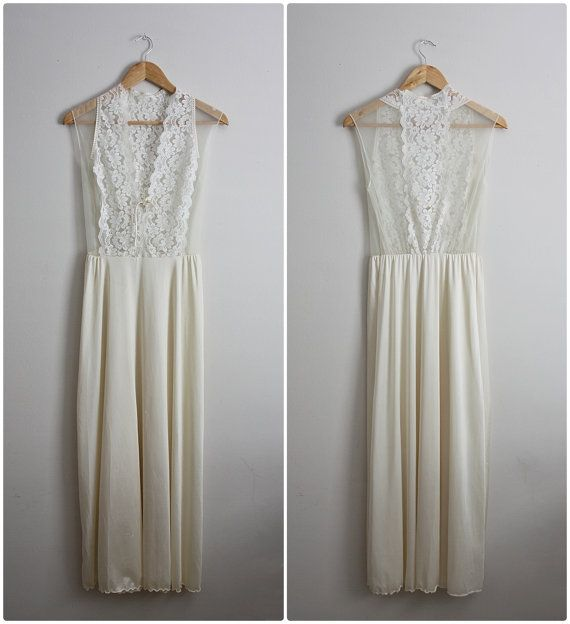 Vintage 60's Nightgown Ivory Lace Slip Dress. By