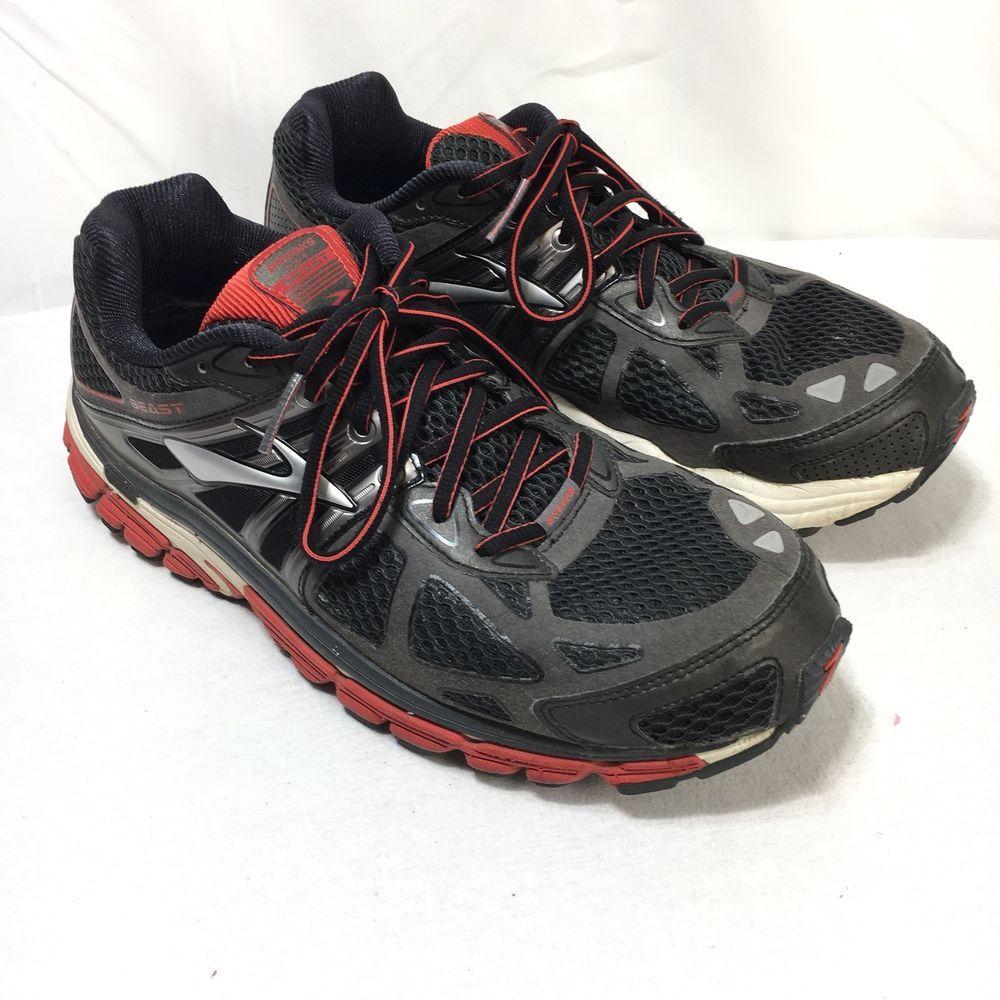 de3372e858c Brooks Beast 14 Men s 9.5 4E Black Red Gray Lace Up Running Walking Shoes