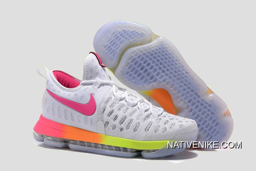 5b56c981b573e Authentic Nike KD 9 White Pink-Orange-Volt Basketball Shoes