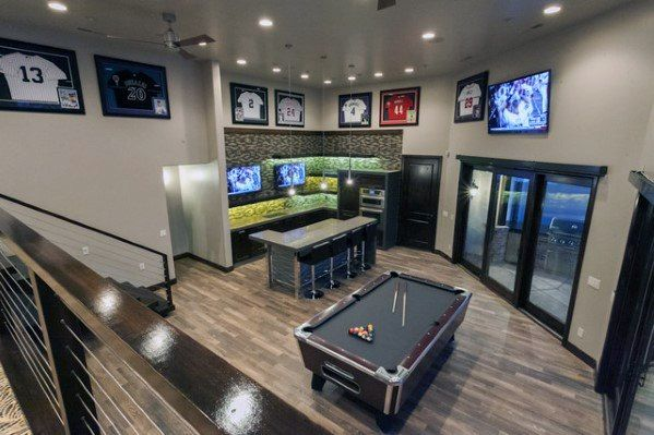 60 Basement Man Cave Design Ideas For Men Manly Home Interiors Man Cave Basement Man Cave Design Man Cave Decor