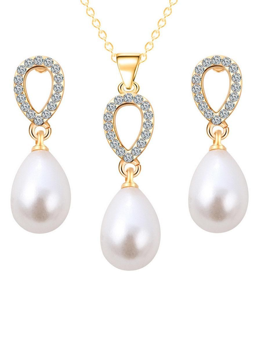 Fashionmia fashionmia waterdrop pearl zircon necklace and earring