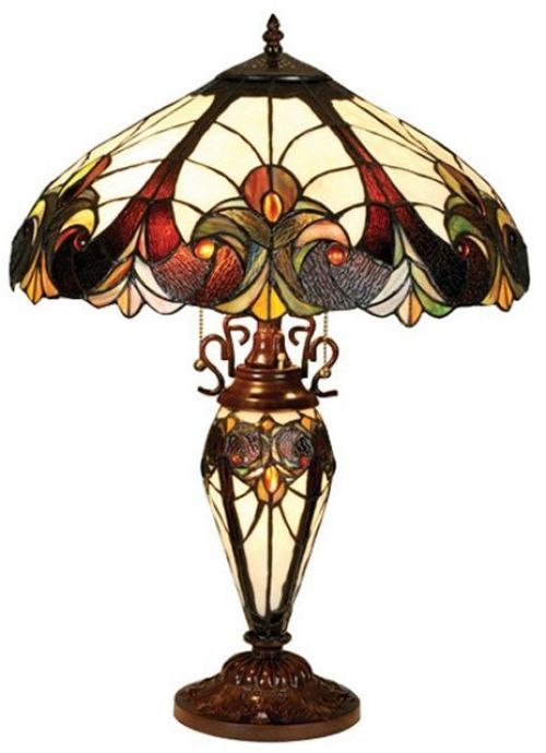 Victorian Lighted Base Table Lamp Reading Lamp Art Glass Lamp Room Lighting New Tiffanystyle Vic Tiffany Table Lamps Tiffany Style Lamp Tiffany Stained Glass