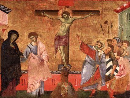 Crucificação (1270). Guido da Siena (activo na 2ª metade do séc. XIII). Têmpera sobre madeira. Pinacoteca Nazionale, Siena.