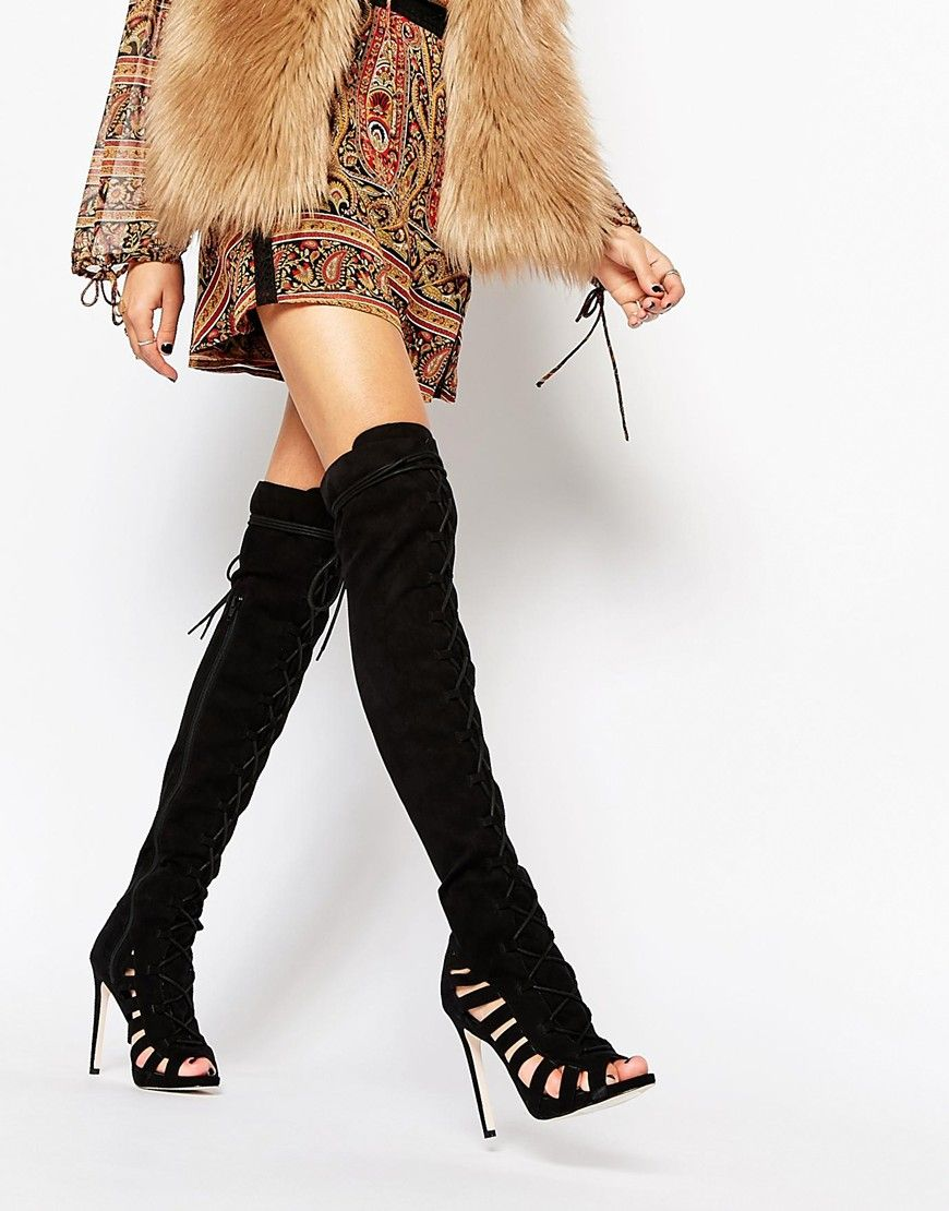 Buy Women Shoes / Asos Keep It Real Peep Toe Over The Knee Boots