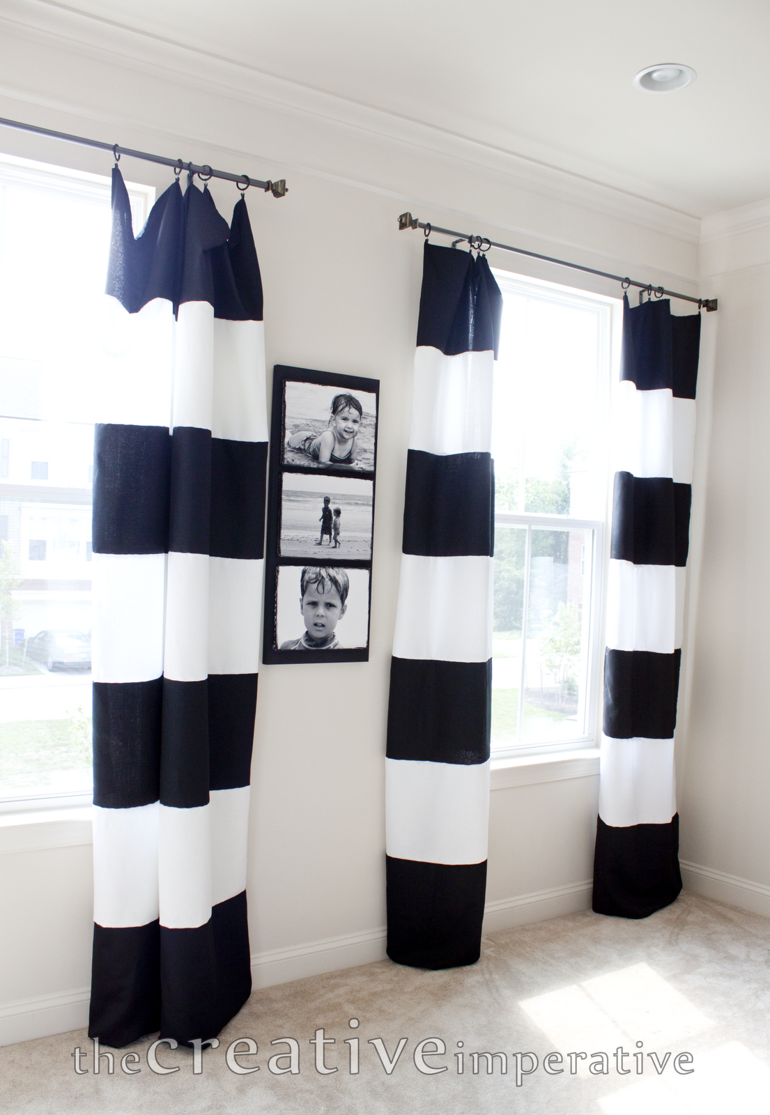 25 Elegant Black And White Dining Room Designs Striped curtains