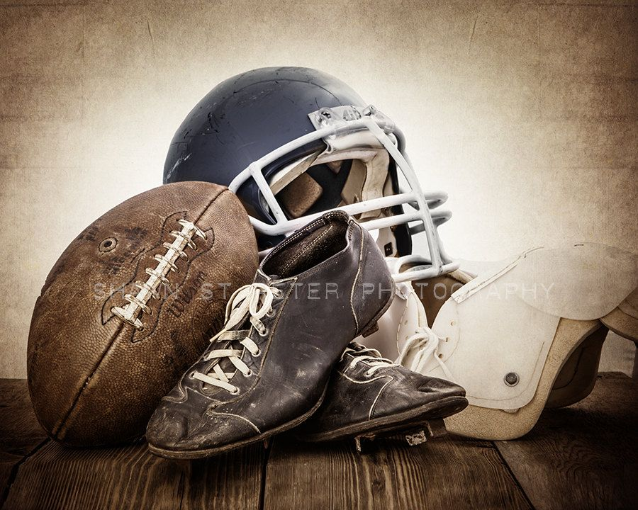 Vintage Football Gear Navy Blue Helmet Photo Print, Wall
