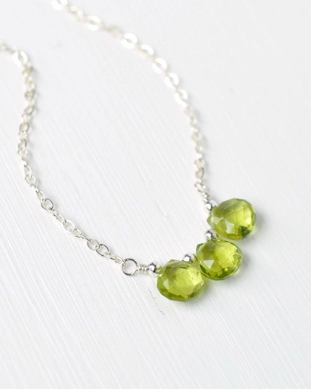 Peridot Briolette Three Stone Necklace in Sterling Silver.  Handcrafted gemstone jewelry by Blue Room Gems.