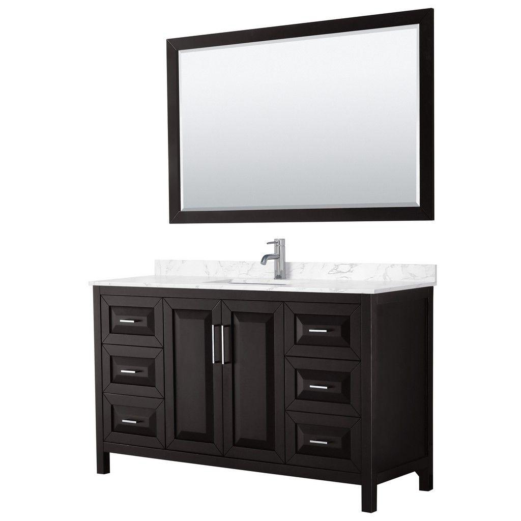 Photo of Daria 60 Inch Single Bathroom Vanity in Dark Espresso, Dark-Vein Carrara Cultured Marble Countertop, Undermount Square Sink, 58 Inch Mirror – Wyndham