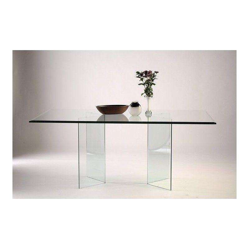 Angled Glass Dining Table Base Set