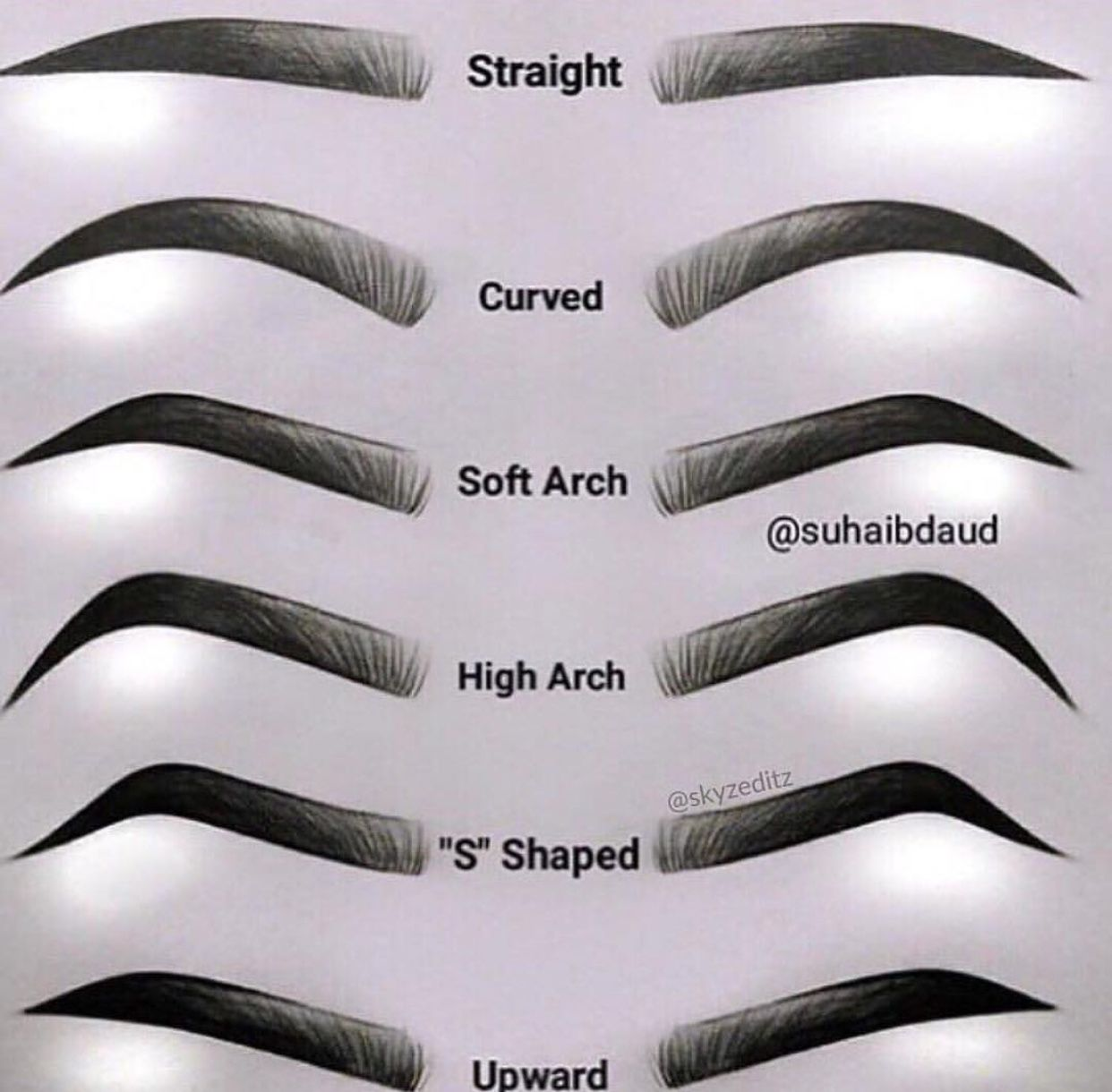 Eyebrows Chart Guide For Your Brows Different Types Of Eye Brows