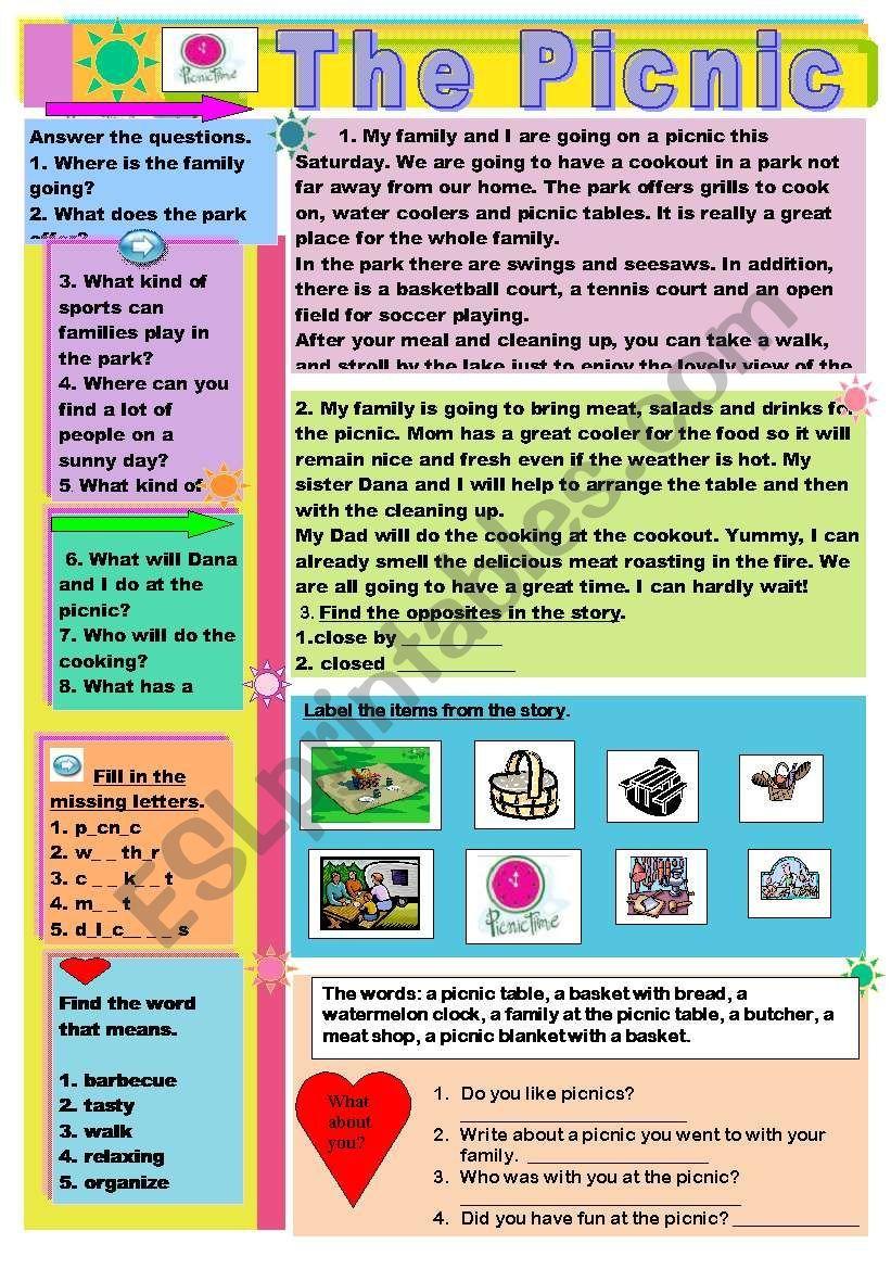 The Picnic Esl Worksheet By Moma Vocabulary Worksheets Funny Emoji Faces Worksheets [ 1169 x 821 Pixel ]