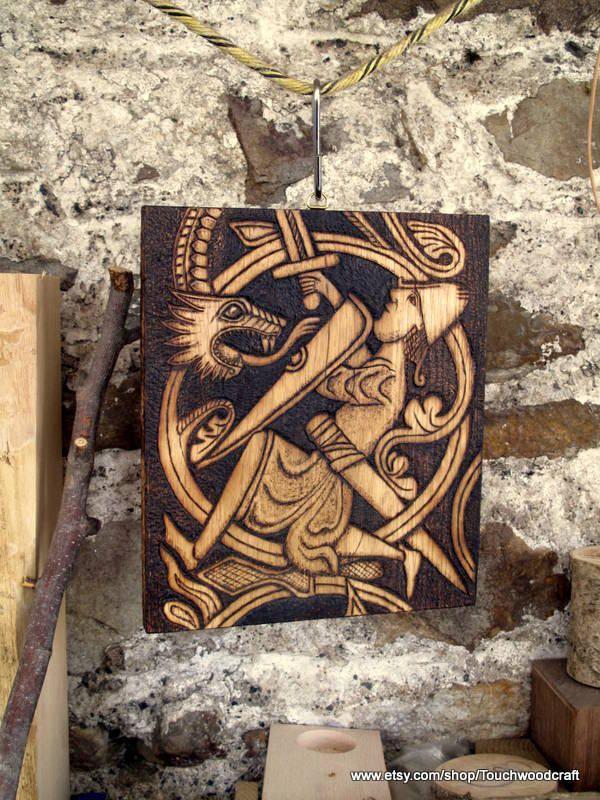 Viking art plaque, wood, carved, wood burning, Norse, Mythology ...