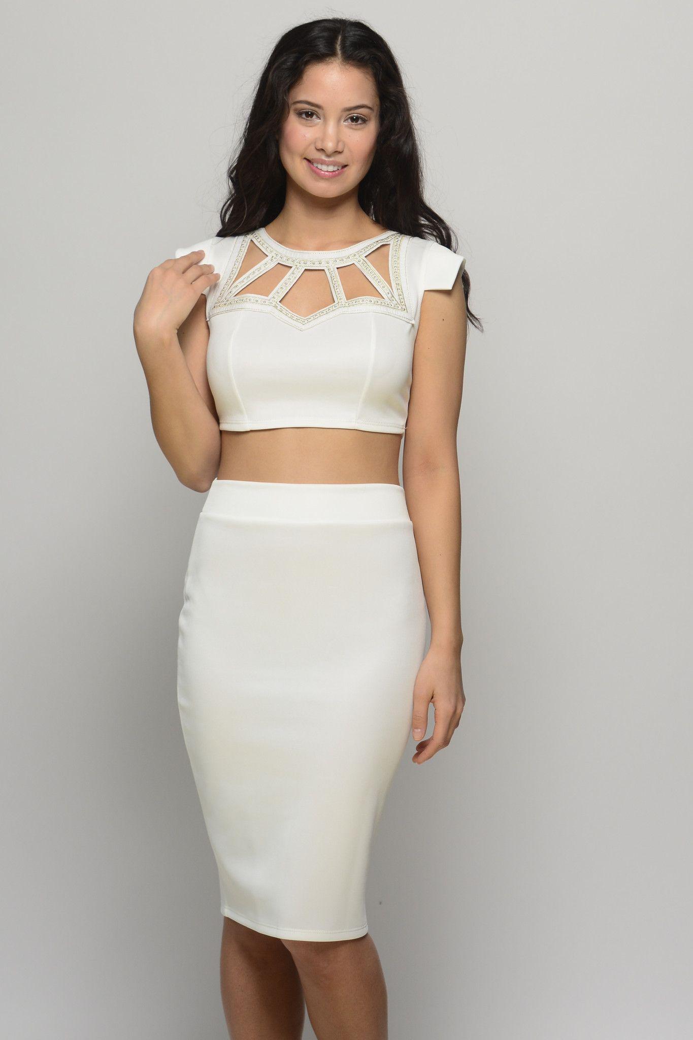 Signature Bliss White 2 Piece Set Night Out Dress Vegas Dresses Dresses [ 2048 x 1365 Pixel ]