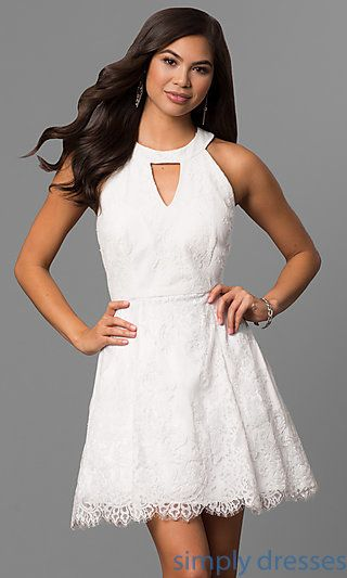 Shop short white graduation dresses at Simply Dresses. White lace party  dresses under  100 with keyhole fronts 2cb5514c3