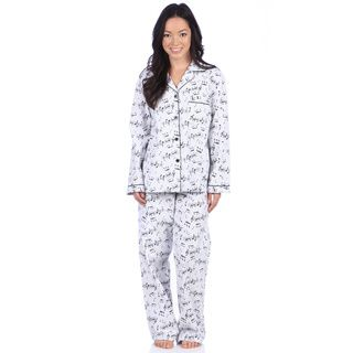 f9d4c9b769 Leisureland Women s Music Note Print Cotton Flannel Pajama Set ...
