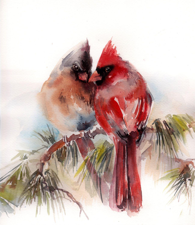 Watercolor Cardinal Tattoo: Birds Original Watercolor Painting, Cardinal Birds Couple