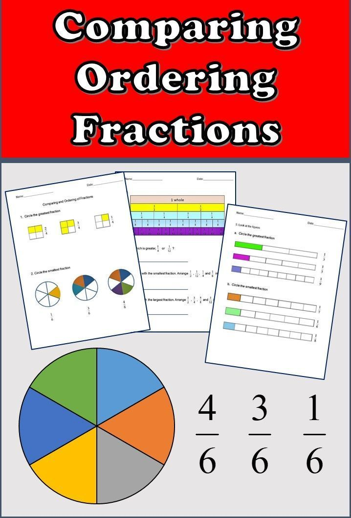 Fractions Worksheets, 3rd Grade, 4th Grade - Comparing and ...