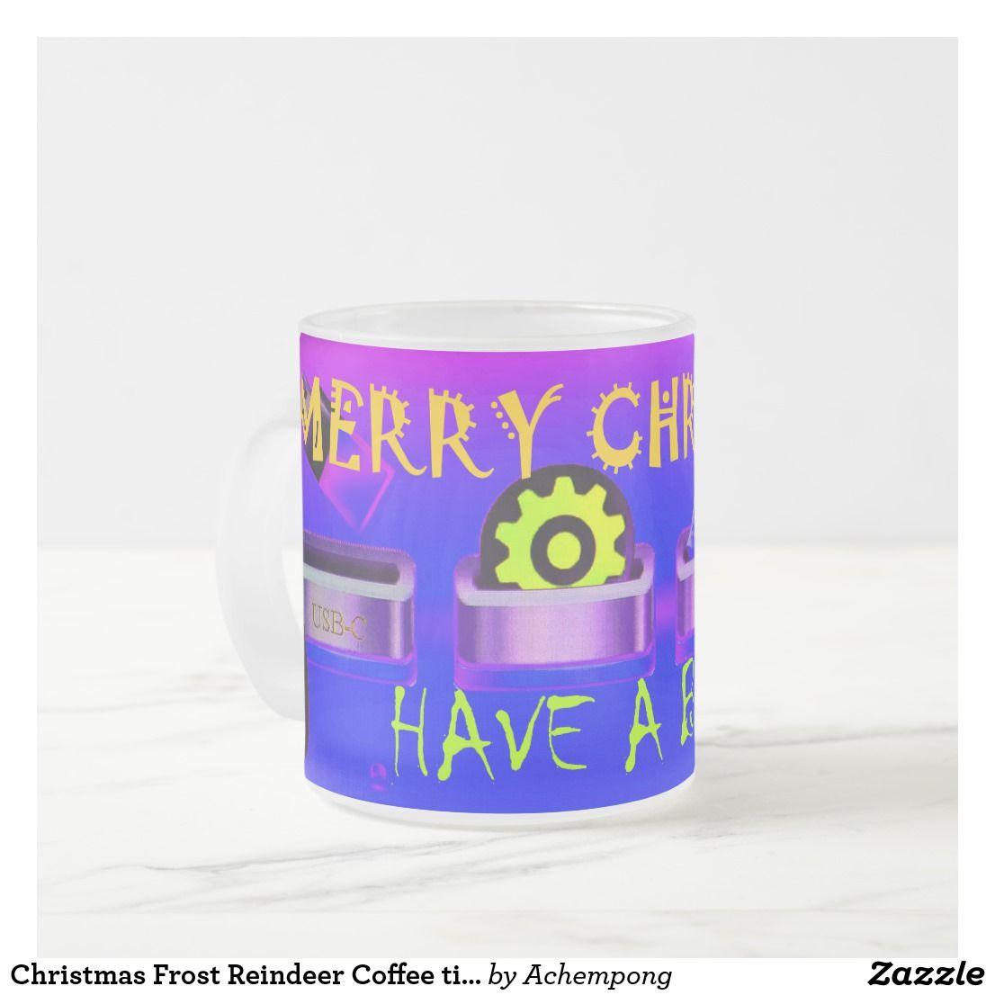 Christmas Frost Reindeer Coffee Time Frosted Glass Coffee Mug Zazzle Co Uk Glass Coffee Mugs Mugs Coffee Mugs