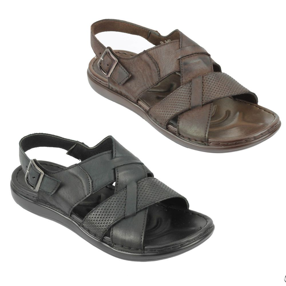 Mens Real Leather Sandals Buckled Strap back Summer Walking