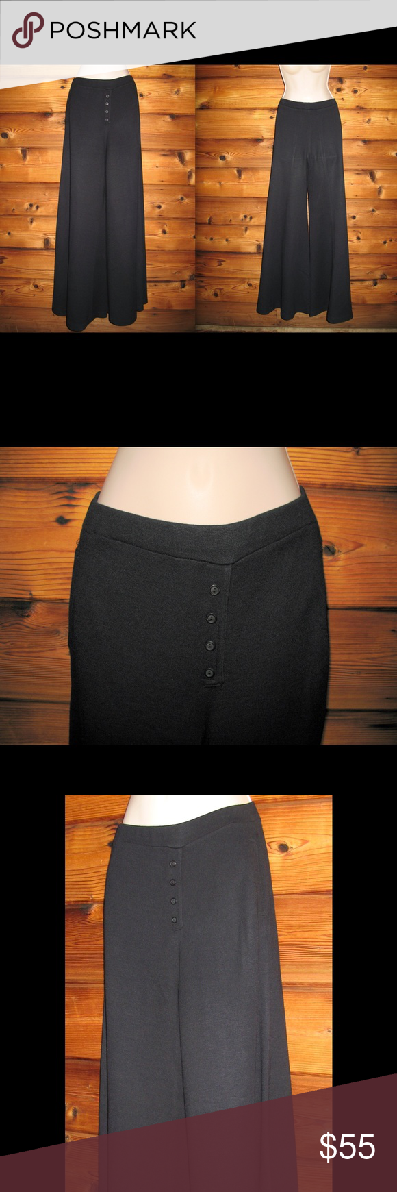 "Joshua Tree California Boho EXTRA Wide Leg Pants Joshua Tree California Boho EXTRA Wide Leg Elastic Waist Thick Knit Pants, Size XS  *Excellent condition. No size or material tags  Details: Joshua Tree Color: Black Size: XS Pull-on style Heavy, thick knit Elastic waist Two front, lined pockets Decorative front button detail Extra wide legs Material unknown Hand or Machine wash delicate  Measurements: Waist: 26-32 Hips: 34"" Leg Opening: 50"" Joshua Tree California Pants Wide Leg"