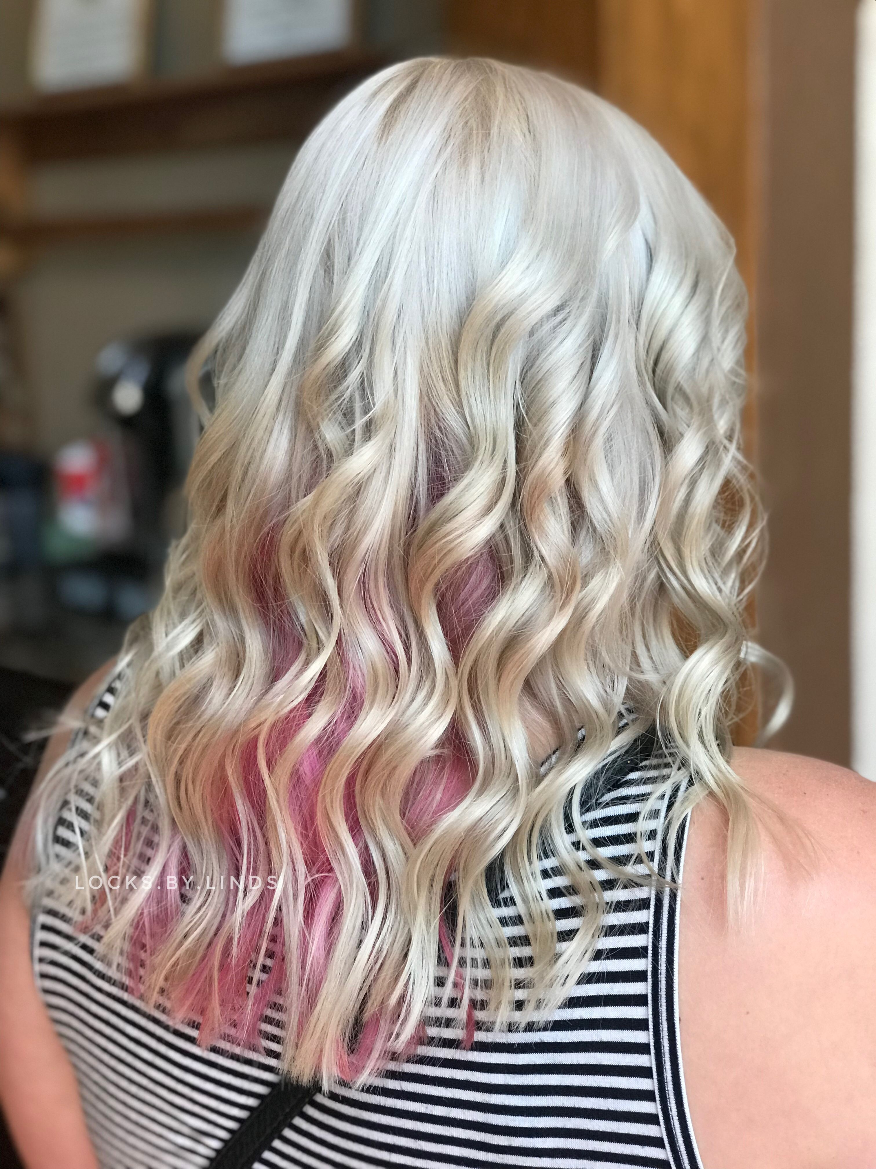 White Blonde Hair With Bubblegum Pink Underneath Locksbylinds Platinum Pinkhair Blondehair Pink Underneath Hair Pink Blonde Hair White Blonde Hair