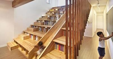 library stairs with a slide! Love it