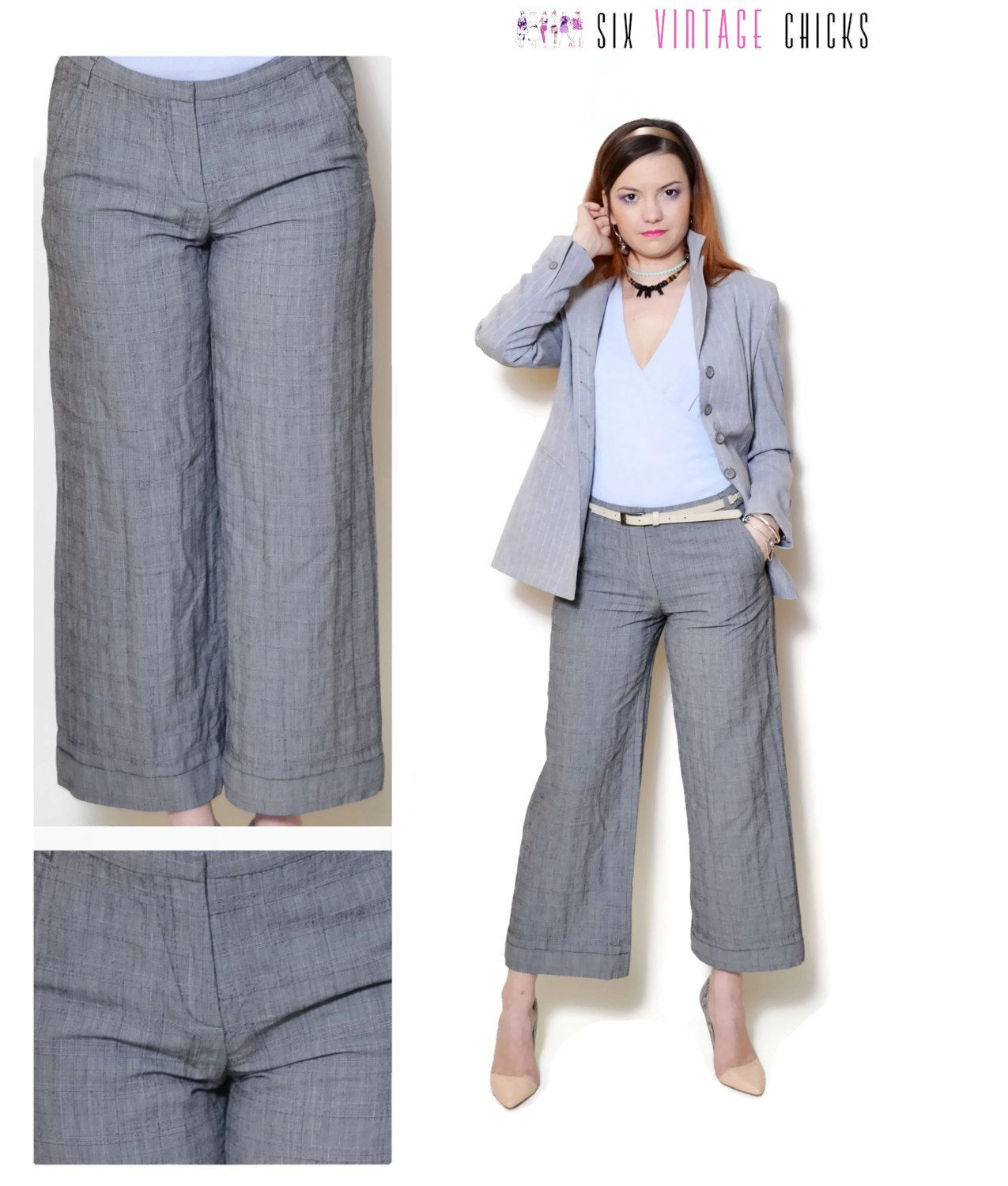 9dd4defcb00cb Wool Pants vintage grey straight leg pants wide leg pants 90s clothing  womens clothing boho bohemian office clothes plaid pants gift for her by ...