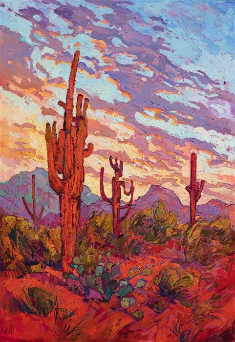Scottsdale Saguaro Desert Commission Oil Painting By