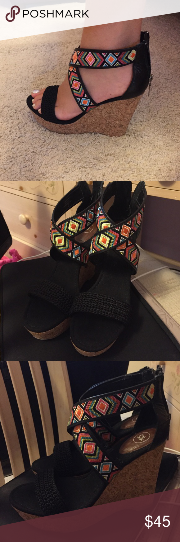 NWOT Wedges !! NWOT theSak wedges !! Size 9, with zipper behind the ankle and 4 inch cork heel The Sak Shoes Wedges