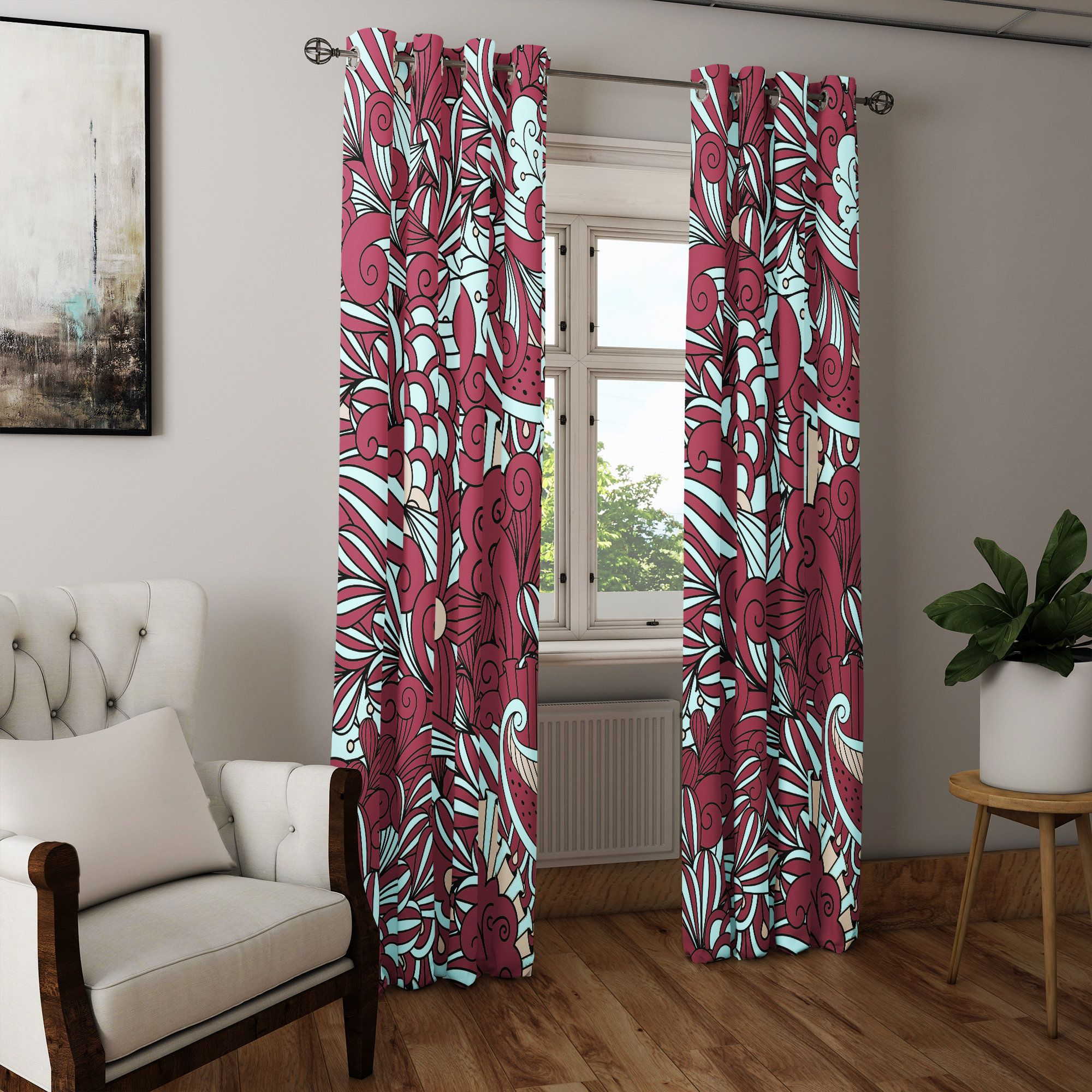 Burgundy And Teal Modern Floral Pattern Window Curtains Long Etsy White Paneling Block Out Curtains Window Curtain Designs #printed #curtains #for #living #room
