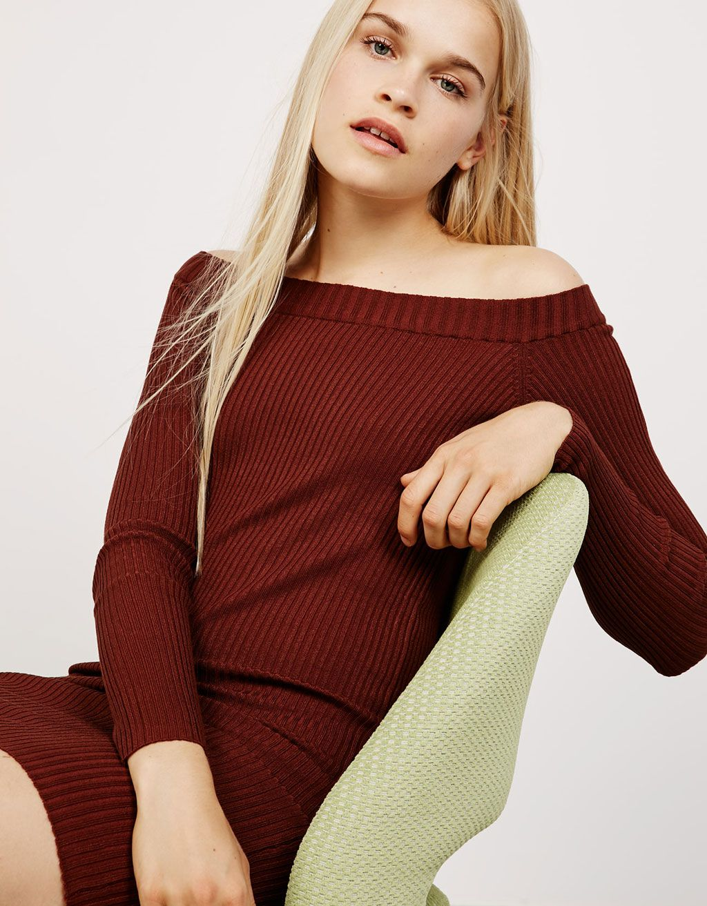 4c9dd375d218 Strapless ribbed midi dress. Discover this and many more items in Bershka  with… Robes