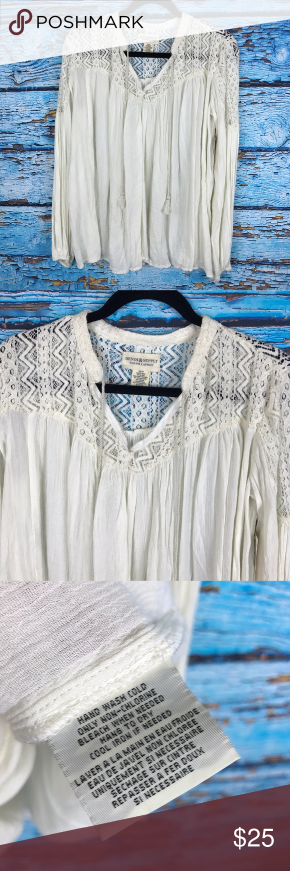 Denim & Supply Ralph Lauren Guaze Lace Peasant Top Denim & Supply Ralph Lauren Womens Sz XS White Gauze Lace Peasant Top Shirt Boho Size XS Armpit to armpit 25 inches Total length from top of shoulder to bottom hem 28 inches  New With Tags Lucky Brand Tops Blouses