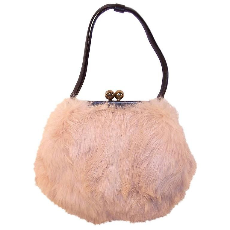 Fluffy 1950 s Morris Moskowitz Pink Fur and Black Leather Handbag ... 721b223a6ab42