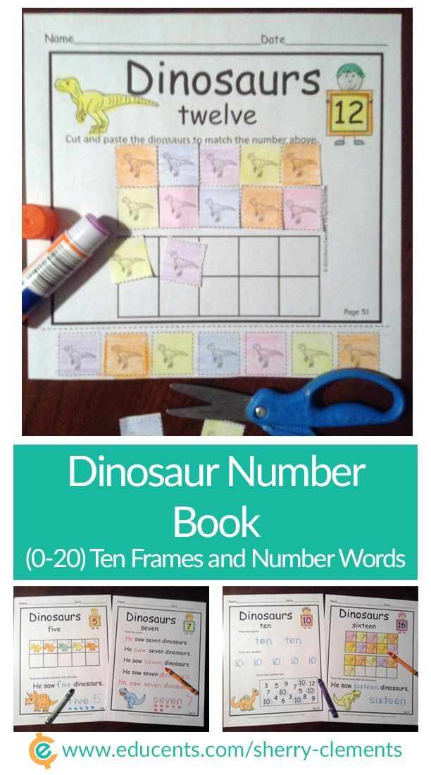 This fun dinosaur number book for numbers 0-20 is great for introducing/reviewing numbers and math or literacy centers. Practice counting, filling in ten frames, tracing number words, numbers, and sight words.