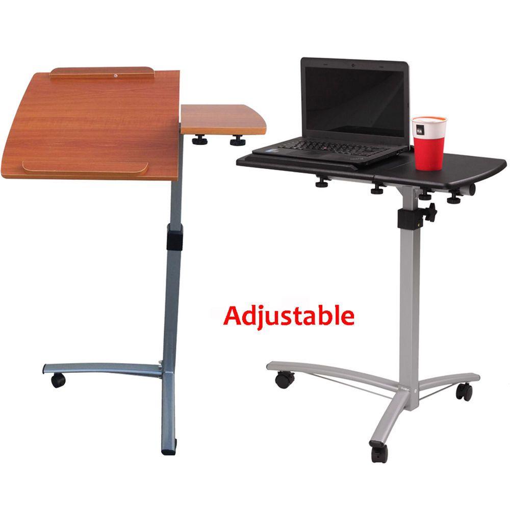 Adjustable Laptop Notebook Rolling Table Desk Stand Overbed Tiltable Tabletop