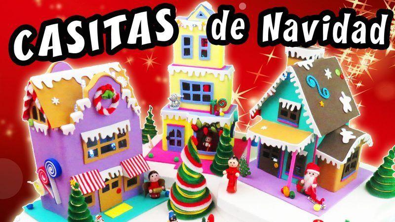 Casitas De Navidad Con Carton Y Foamy Manualidades De Navidad Faciles Navidad Y Adornos De Navidad