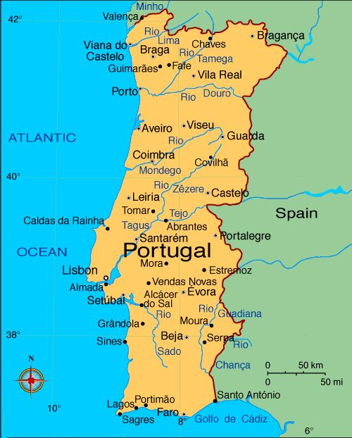 Map Of Portugal With Cities Google Search Portugal Pinterest - Portugal map