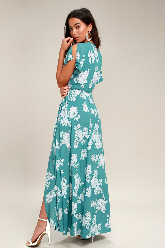 0d9fb038bf9 Heart of Marigold Turquoise Floral Print Wrap Maxi Dress in 2018 ...