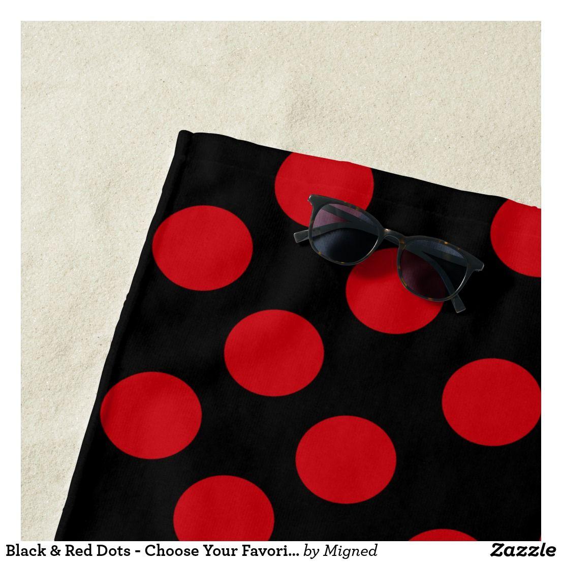 Black Red Dots Choose Your Favorite Colors Beach Towel