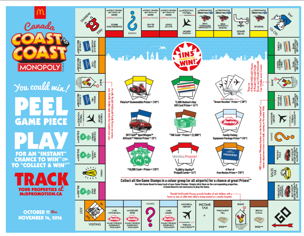 Mcdpromotion Tracker Play Monopoly Coast To Coast Game