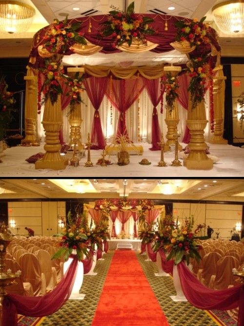 Round Maroon Gold Column Mandap Wedding Cake With A
