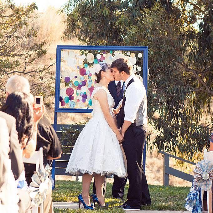 Stylish Wedding Ceremony Decor: Paper Flower Backdrop Wedding