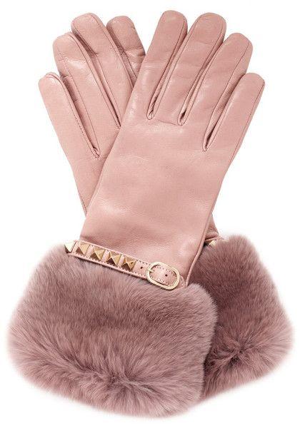 Valentino Pink Rabbit Fur Trimmed Cuff Rockstud Leather Gloves ... 8c83f531049d