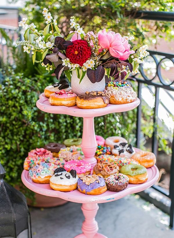ideas for bridal shower brunch food%0A Tiered Donut Display  Want to serve donuts at a bridesmaid brunch or bridal  shower